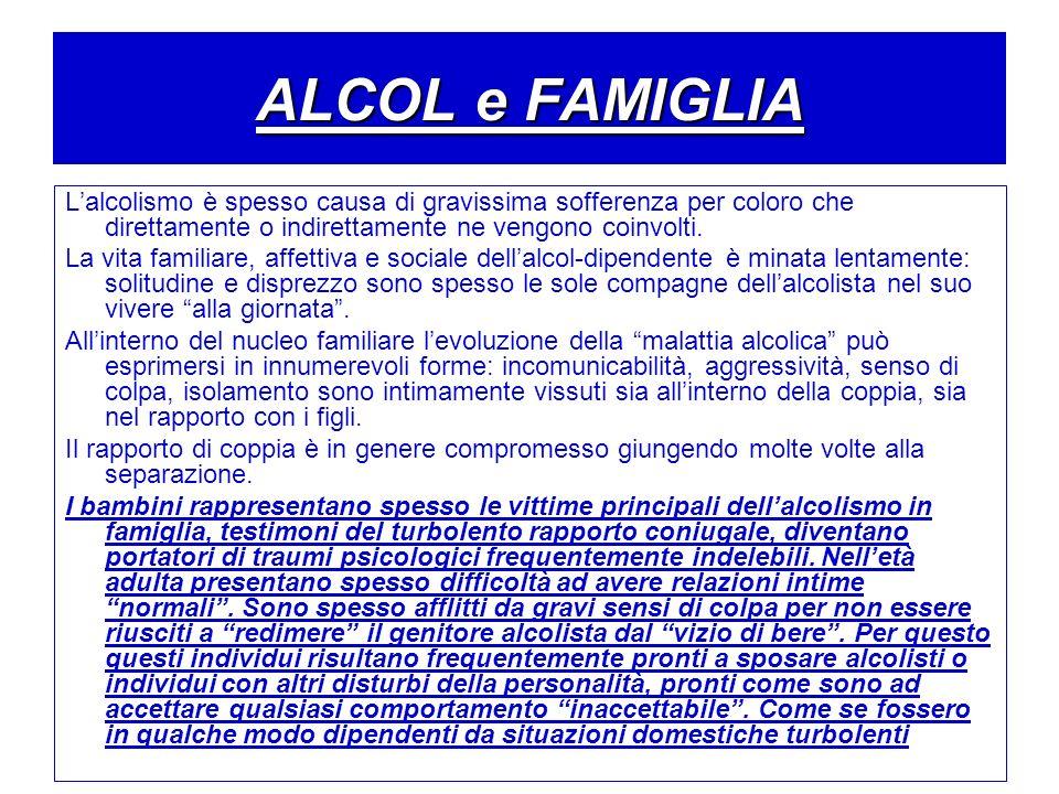 ALCOL e FAMIGLIA L'alcolismo è spesso causa di gravissima sofferenza per coloro che direttamente o indirettamente ne vengono coinvolti.