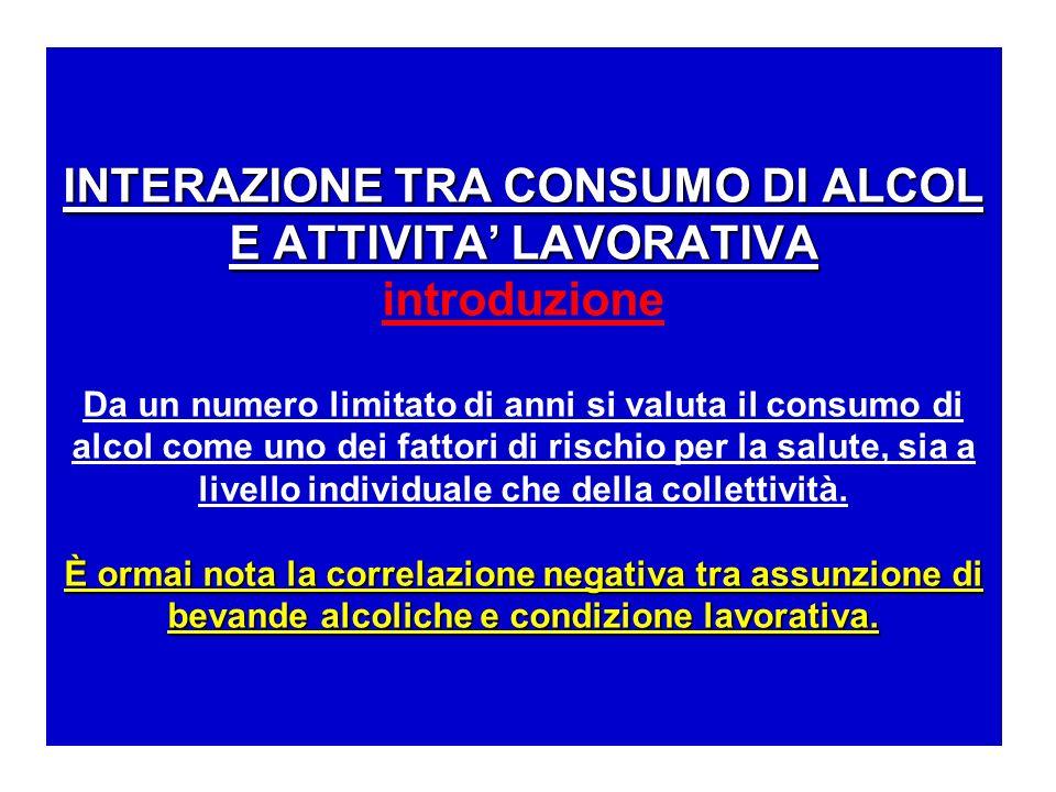 INTERAZIONE TRA CONSUMO DI ALCOL E ATTIVITA' LAVORATIVA introduzione Da un numero limitato di anni si valuta il consumo di alcol come uno dei fattori di rischio per la salute, sia a livello individuale che della collettività.