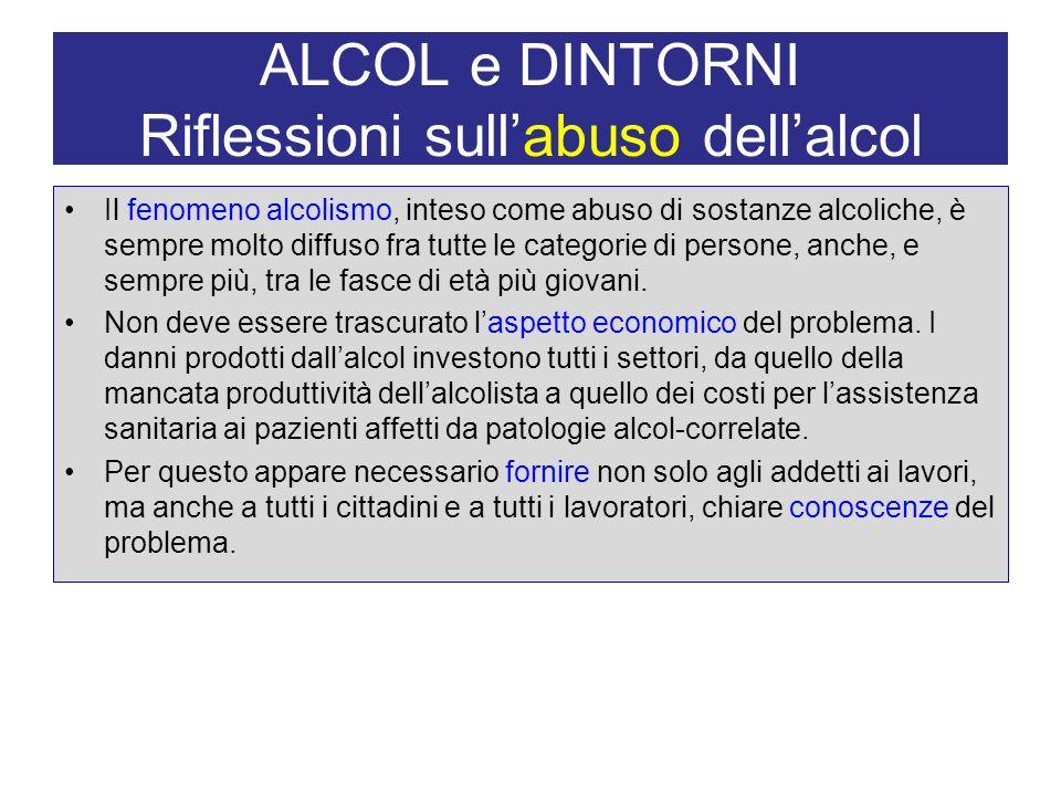 ALCOL e DINTORNI Riflessioni sull'abuso dell'alcol