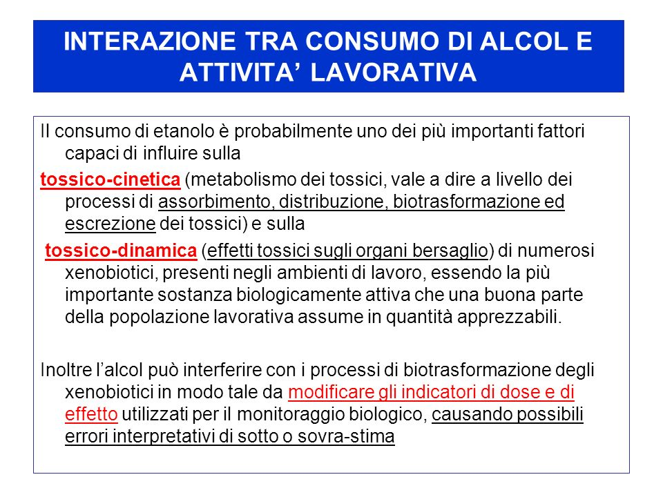 INTERAZIONE TRA CONSUMO DI ALCOL E ATTIVITA' LAVORATIVA
