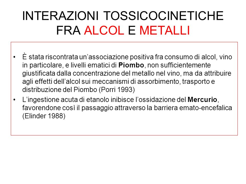 INTERAZIONI TOSSICOCINETICHE FRA ALCOL E METALLI