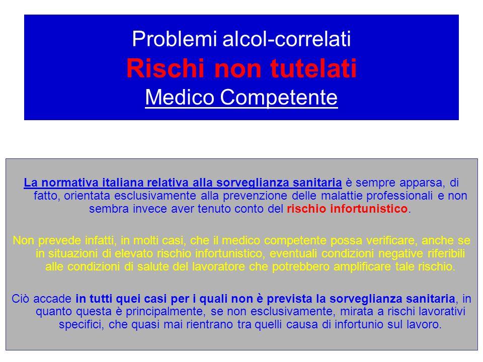 Problemi alcol-correlati Rischi non tutelati Medico Competente