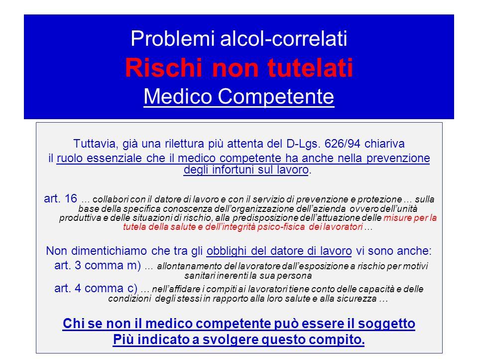 Problemi alcol-correlati – Rischi non tutelati Medico Competente
