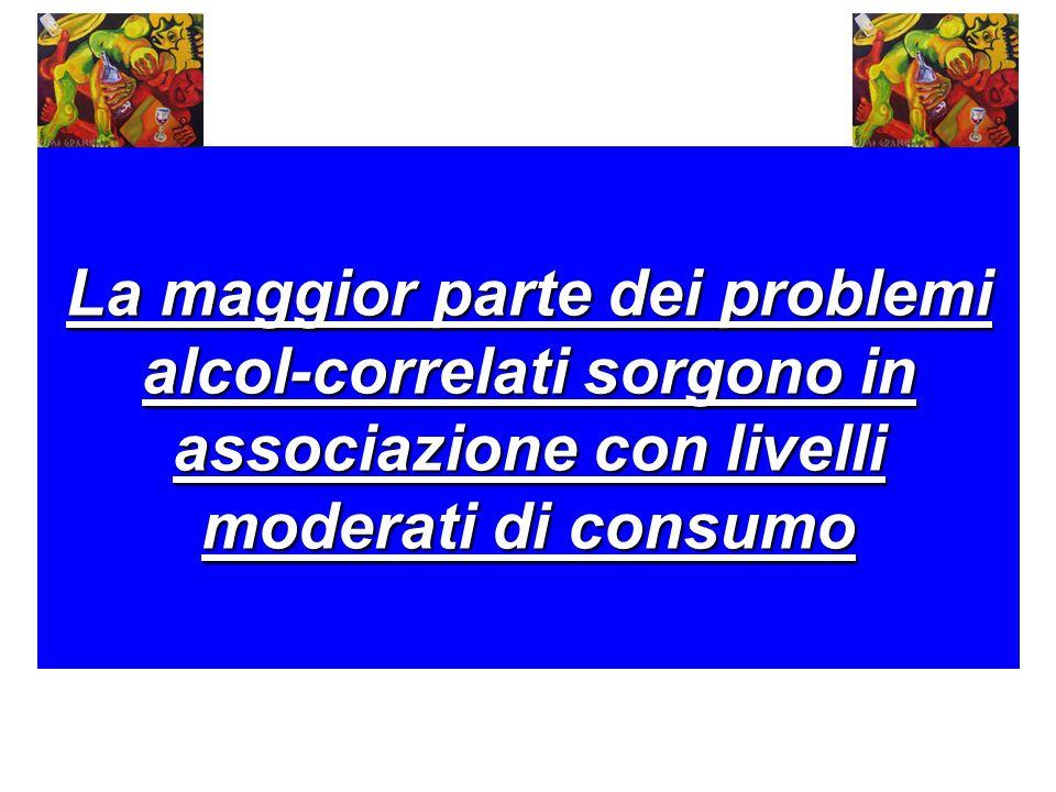 La maggior parte dei problemi alcol-correlati sorgono in associazione con livelli moderati di consumo