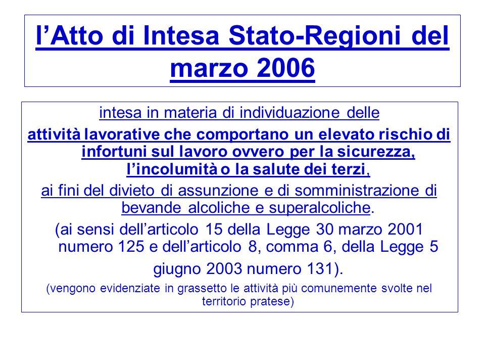 l'Atto di Intesa Stato-Regioni del marzo 2006