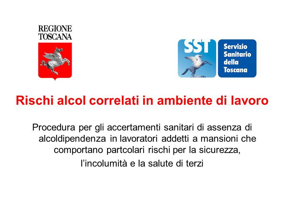 Rischi alcol correlati in ambiente di lavoro