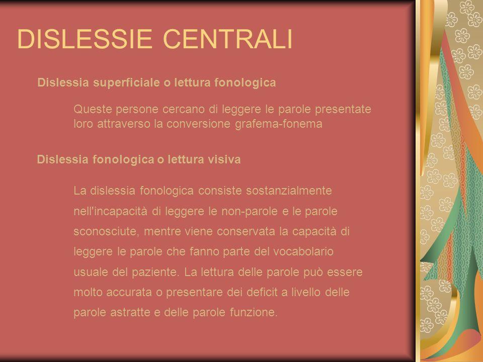 DISLESSIE CENTRALI Dislessia superficiale o lettura fonologica