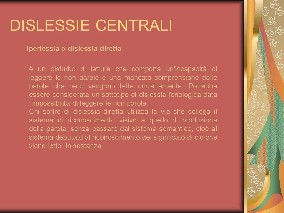 DISLESSIE CENTRALI Iperlessia o dislessia diretta