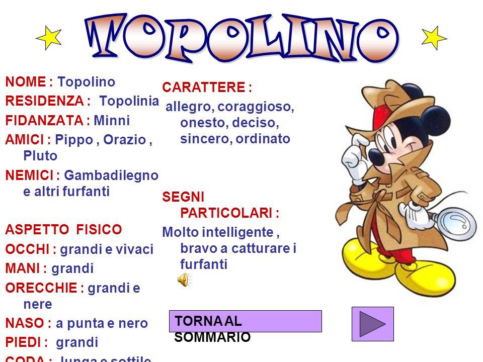 TOPOLINO NOME : Topolino CARATTERE : RESIDENZA : Topolinia