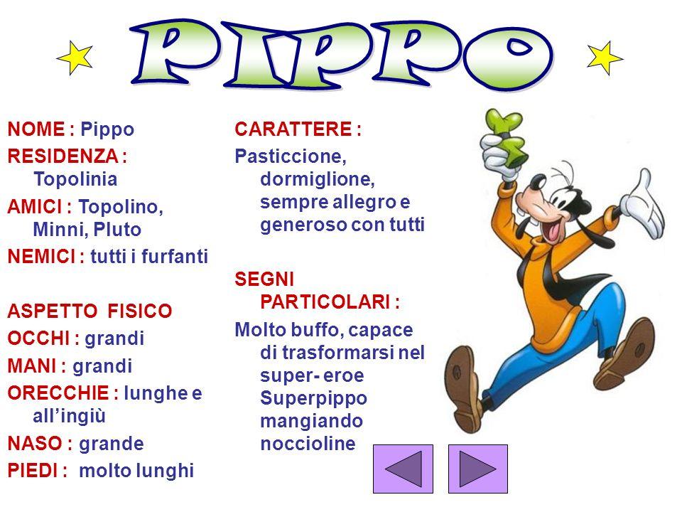PIPPO NOME : Pippo RESIDENZA : Topolinia
