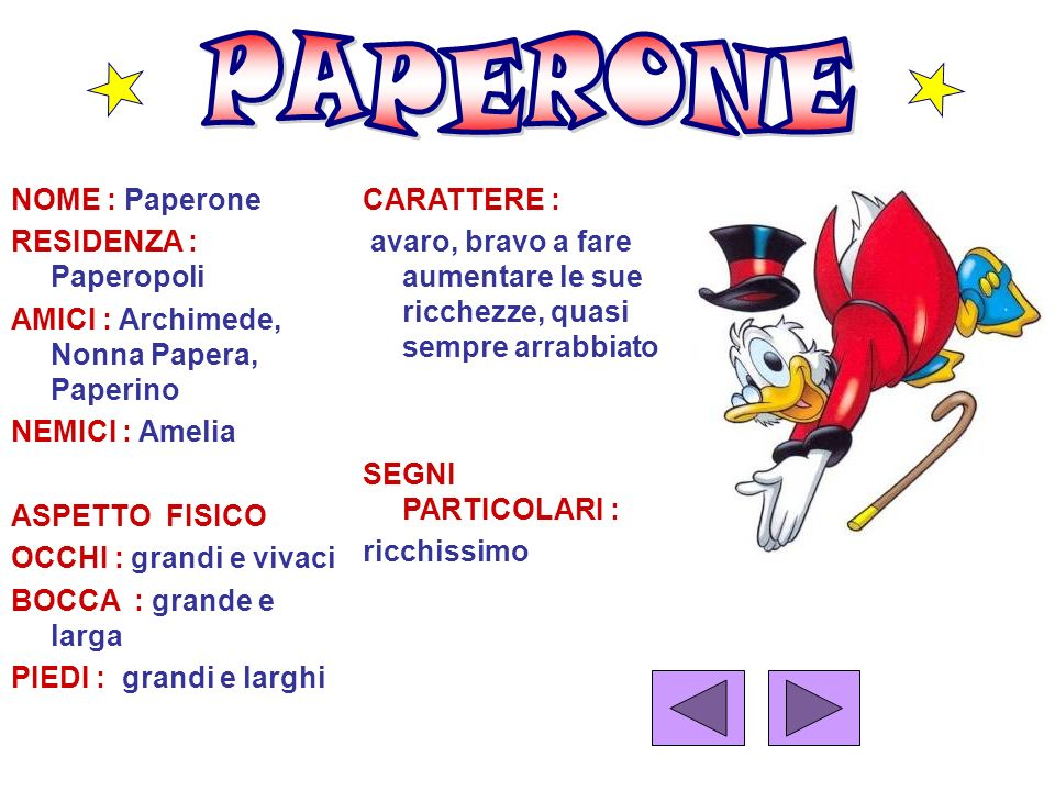 PAPERONE NOME : Paperone RESIDENZA : Paperopoli