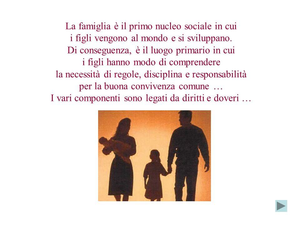 La famiglia è il primo nucleo sociale in cui i figli vengono al mondo e si sviluppano.