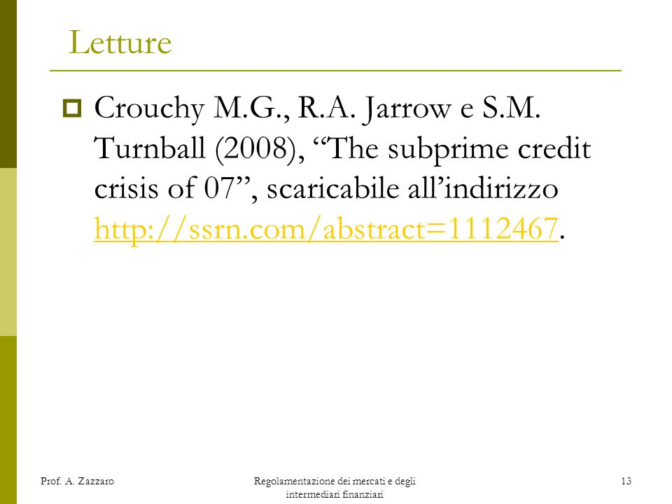Regolamentazione dei mercati e degli intermediari finanziari