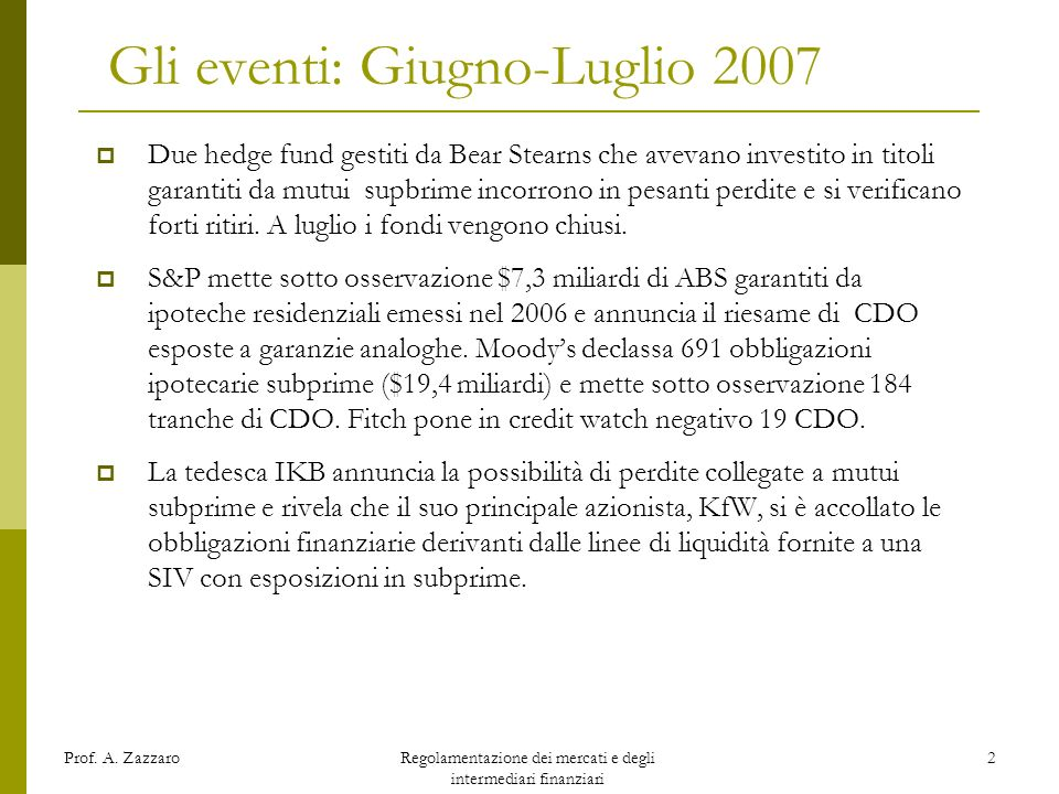 Gli eventi: Giugno-Luglio 2007
