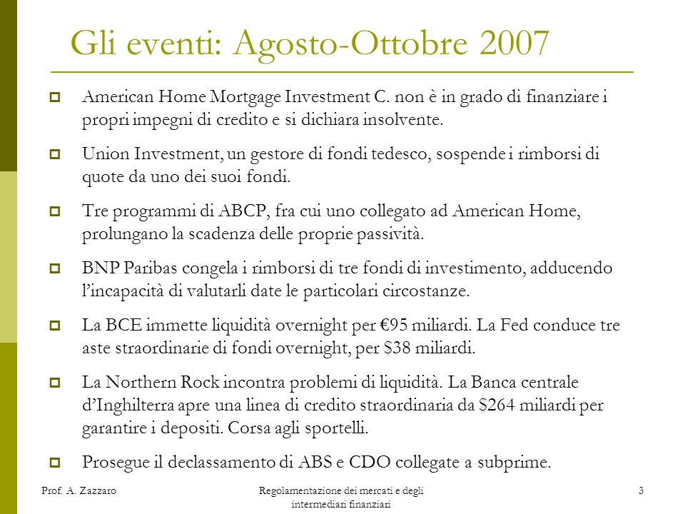 Gli eventi: Agosto-Ottobre 2007