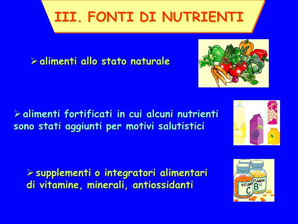 III. FONTI DI NUTRIENTI alimenti allo stato naturale