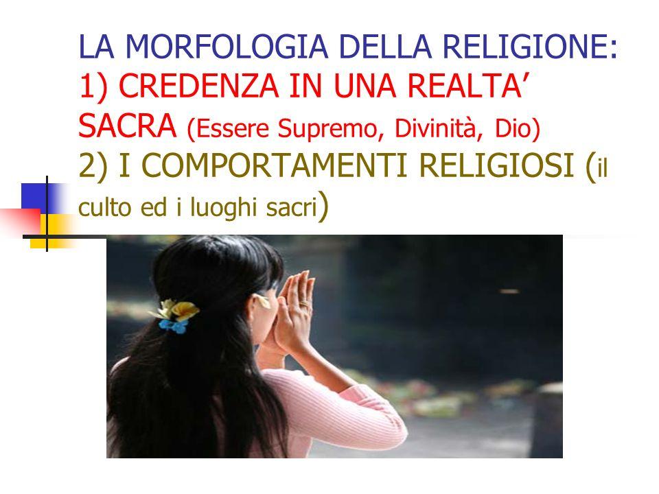 LA MORFOLOGIA DELLA RELIGIONE: 1) CREDENZA IN UNA REALTA' SACRA (Essere Supremo, Divinità, Dio) 2) I COMPORTAMENTI RELIGIOSI (il culto ed i luoghi sacri)
