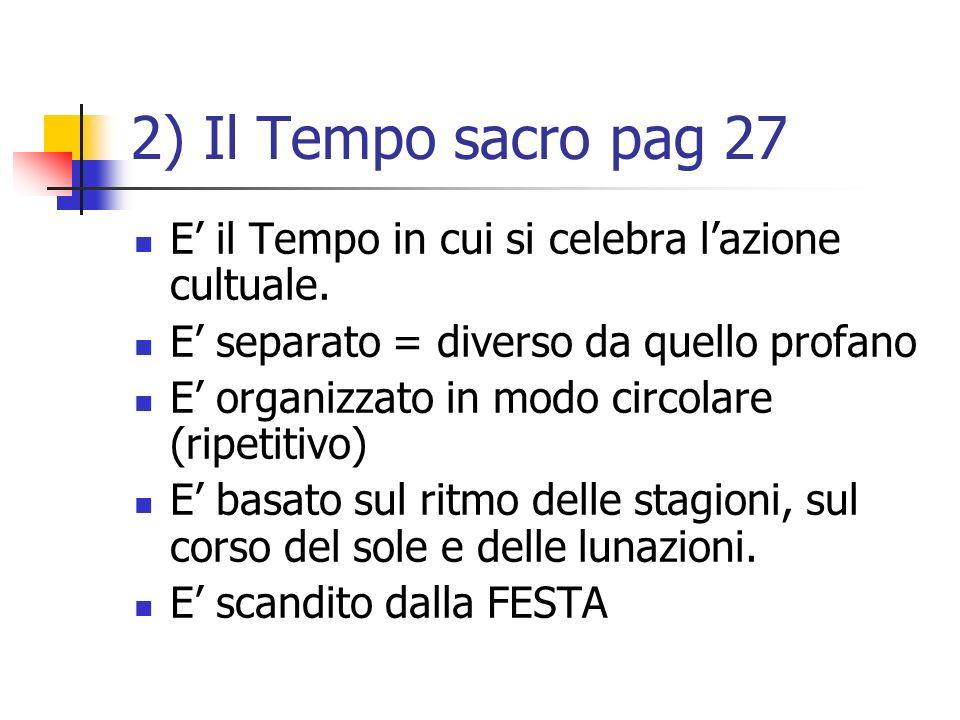 2) Il Tempo sacro pag 27 E' il Tempo in cui si celebra l'azione cultuale. E' separato = diverso da quello profano.