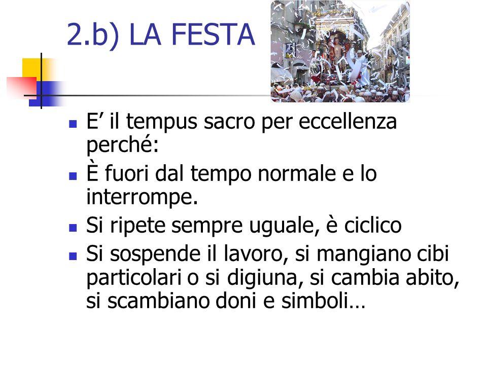 2.b) LA FESTA E' il tempus sacro per eccellenza perché: