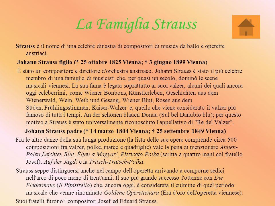 La Famiglia Strauss Strauss è il nome di una celebre dinastia di compositori di musica da ballo e operette austriaci.