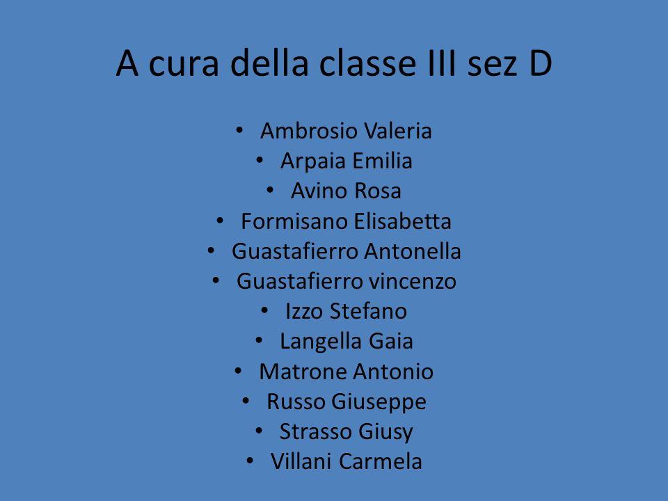 A cura della classe III sez D