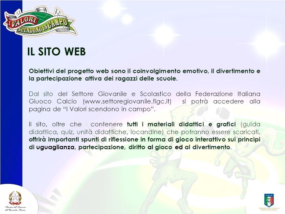 IL SITO WEB Obiettivi del progetto web sono il coinvolgimento emotivo, il divertimento e la partecipazione attiva dei ragazzi delle scuole.