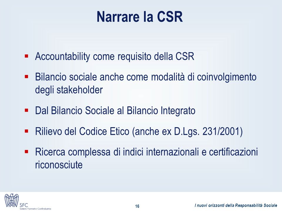 Narrare la CSR Accountability come requisito della CSR