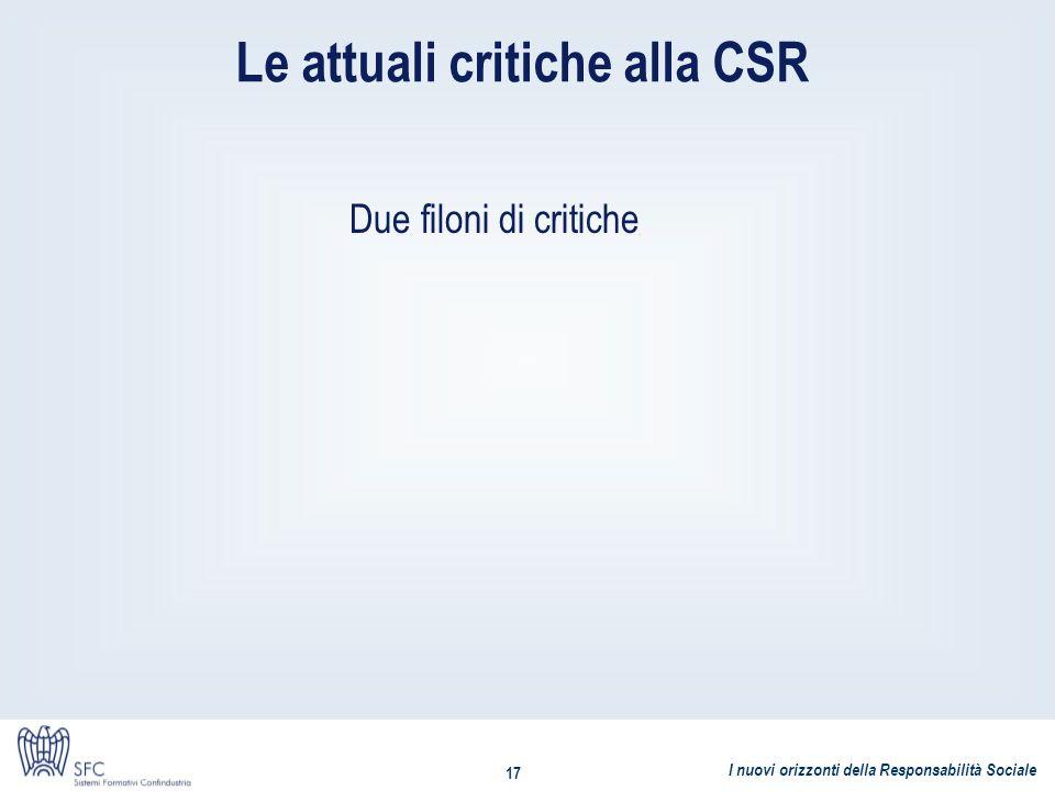 Le attuali critiche alla CSR