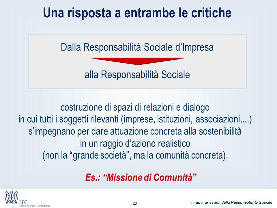 Una risposta a entrambe le critiche Es.: Missione di Comunità
