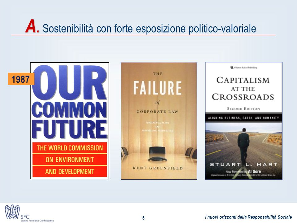 A. Sostenibilità con forte esposizione politico-valoriale