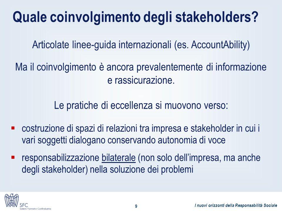 Quale coinvolgimento degli stakeholders