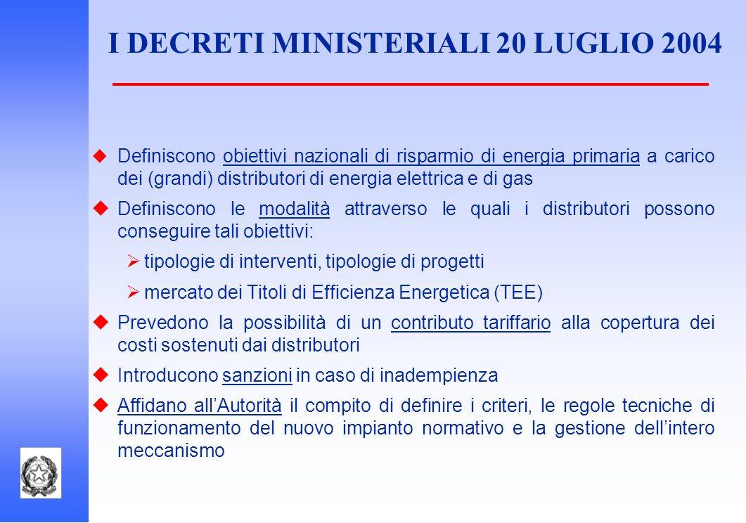 I DECRETI MINISTERIALI 20 LUGLIO 2004