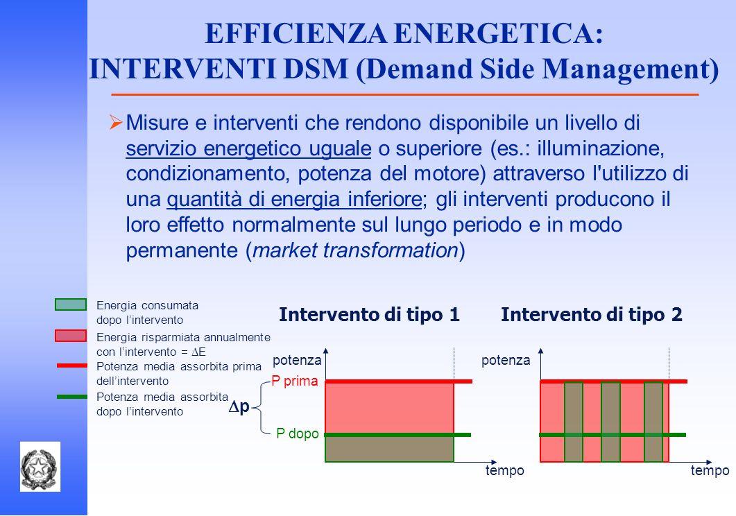 EFFICIENZA ENERGETICA: INTERVENTI DSM (Demand Side Management)