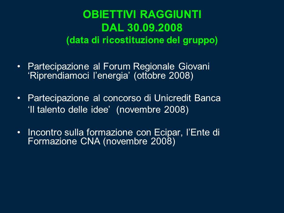 OBIETTIVI RAGGIUNTI DAL 30.09.2008 (data di ricostituzione del gruppo)