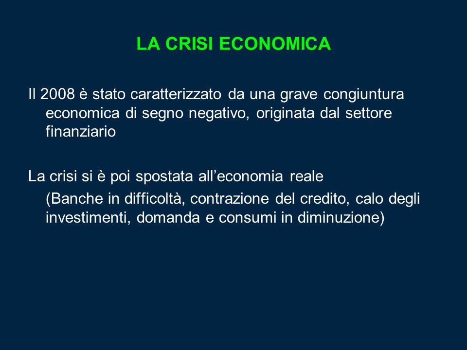 LA CRISI ECONOMICA Il 2008 è stato caratterizzato da una grave congiuntura economica di segno negativo, originata dal settore finanziario.
