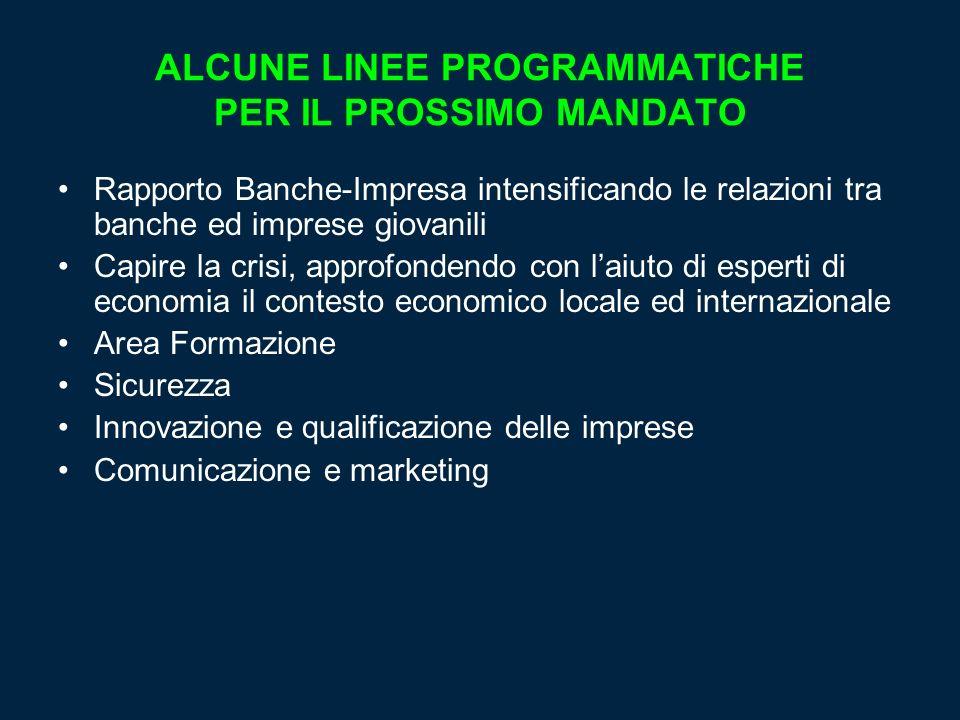 ALCUNE LINEE PROGRAMMATICHE PER IL PROSSIMO MANDATO
