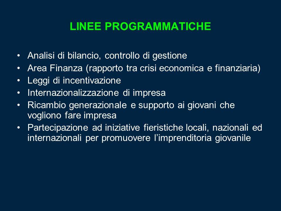 LINEE PROGRAMMATICHE Analisi di bilancio, controllo di gestione