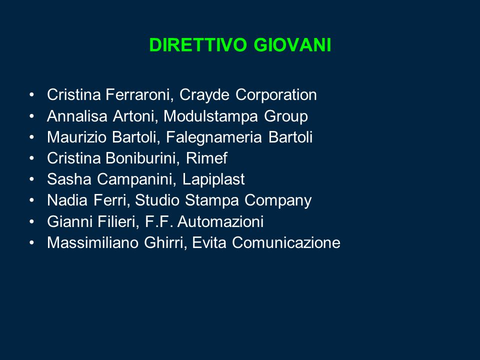DIRETTIVO GIOVANI Cristina Ferraroni, Crayde Corporation