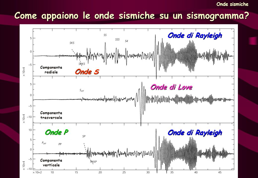 Come appaiono le onde sismiche su un sismogramma