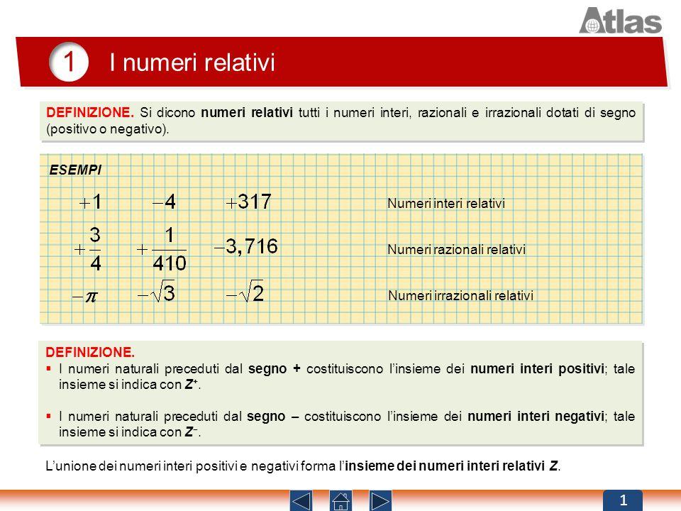1 I numeri relativi. DEFINIZIONE. Si dicono numeri relativi tutti i numeri interi, razionali e irrazionali dotati di segno (positivo o negativo).