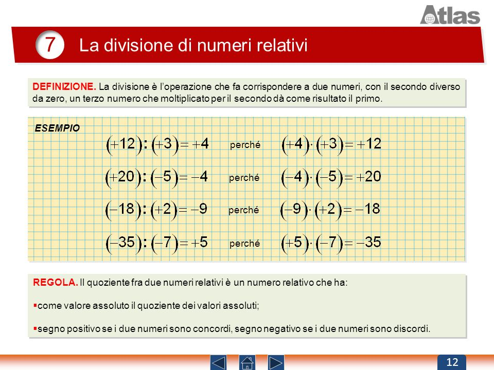 7 La divisione di numeri relativi