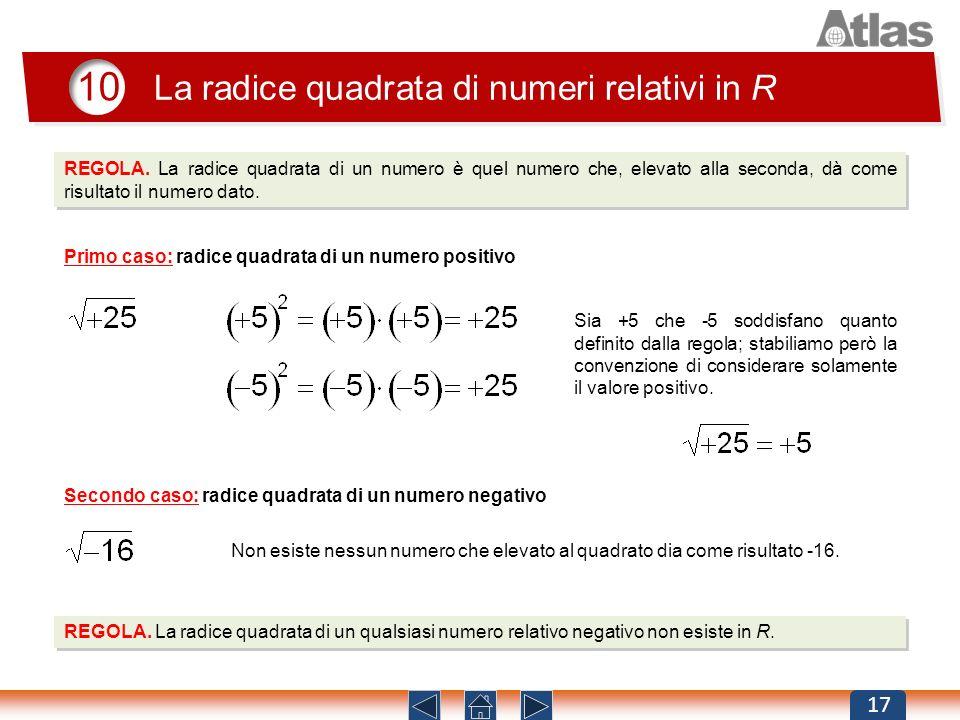10 La radice quadrata di numeri relativi in R