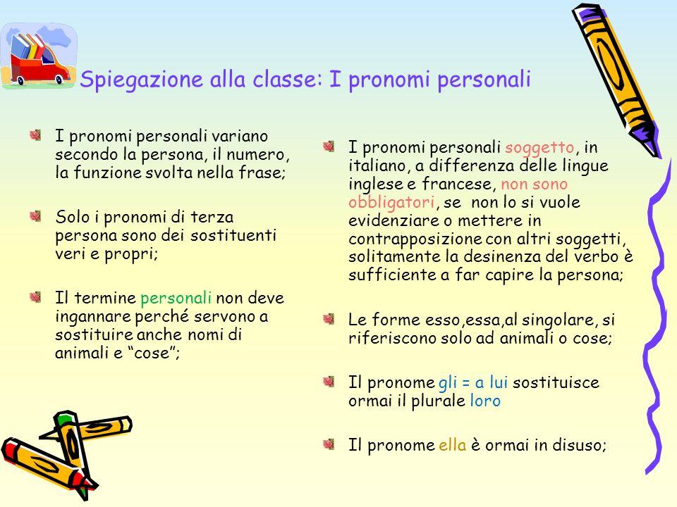 Spiegazione alla classe: I pronomi personali