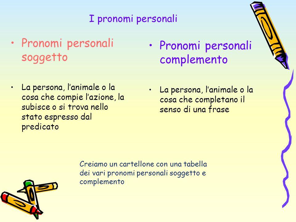 Pronomi personali soggetto Pronomi personali complemento