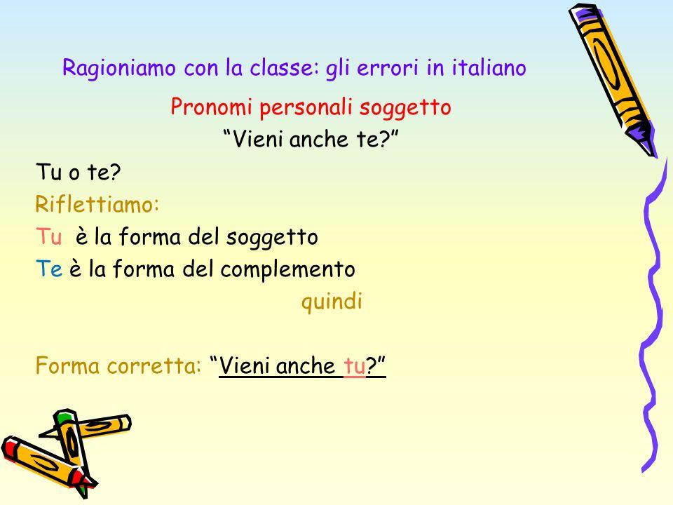 Ragioniamo con la classe: gli errori in italiano