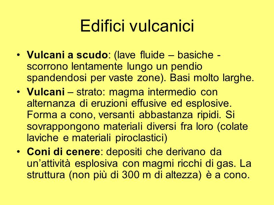 Edifici vulcaniciVulcani a scudo: (lave fluide – basiche -scorrono lentamente lungo un pendio spandendosi per vaste zone). Basi molto larghe.