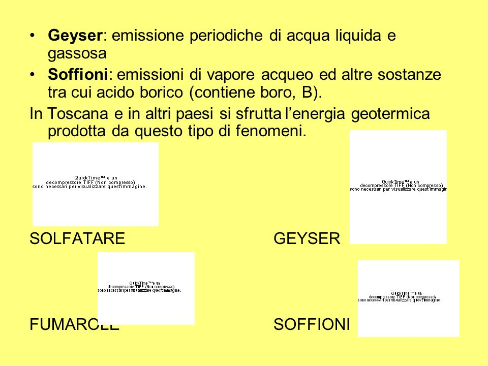 Geyser: emissione periodiche di acqua liquida e gassosa