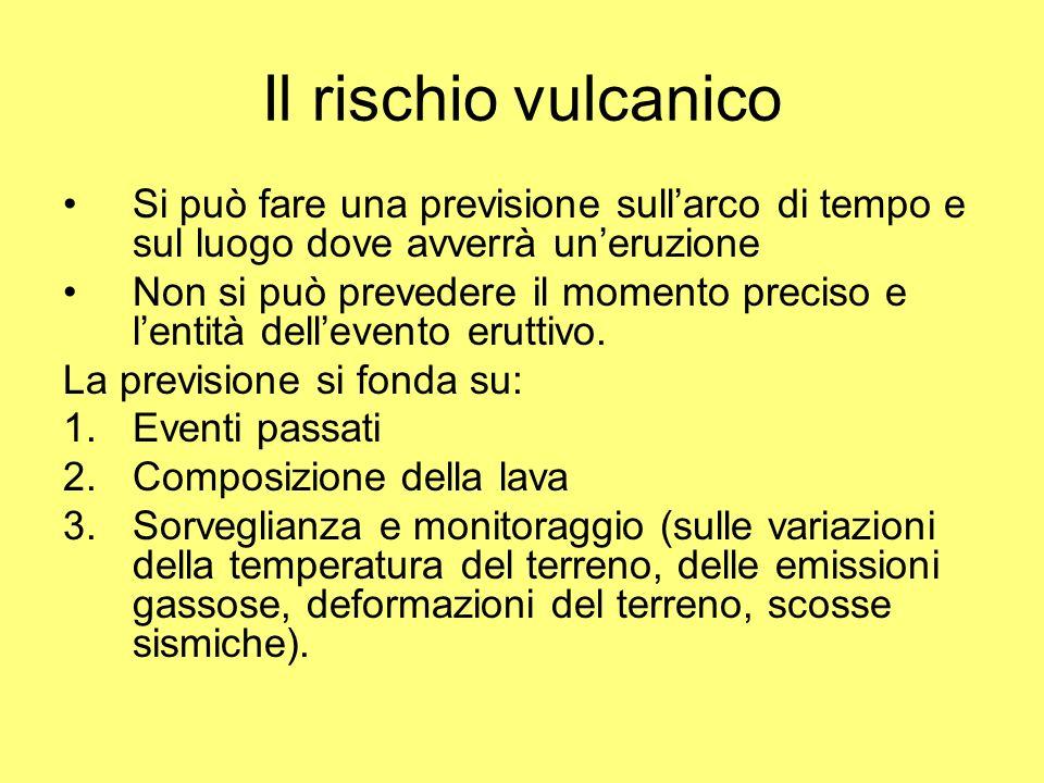 Il rischio vulcanico Si può fare una previsione sull'arco di tempo e sul luogo dove avverrà un'eruzione.