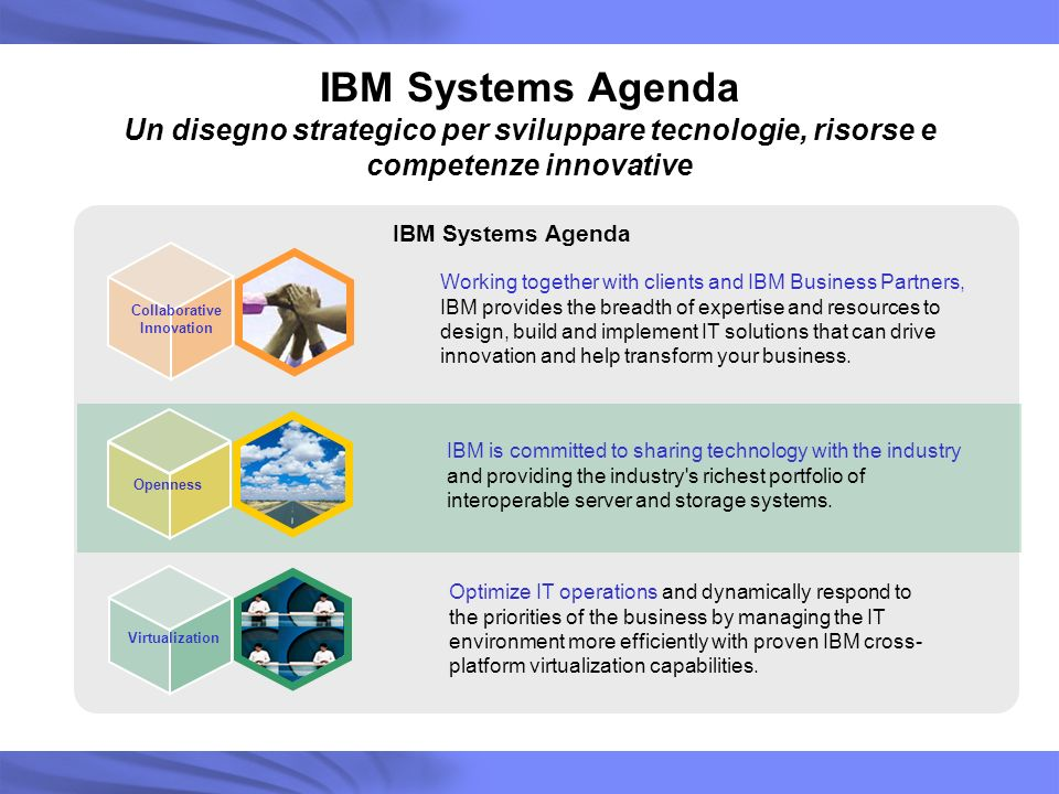 IBM Systems Agenda Un disegno strategico per sviluppare tecnologie, risorse e competenze innovative