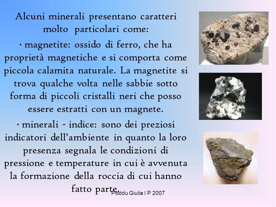 Alcuni minerali presentano caratteri molto particolari come: